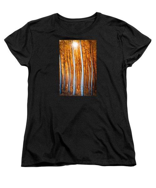 Women's T-Shirt (Standard Cut) featuring the photograph Autumn Canopy Burst by Dan Mihai