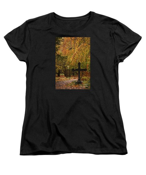 Women's T-Shirt (Standard Cut) featuring the photograph Autumn Cemetary by Inge Riis McDonald