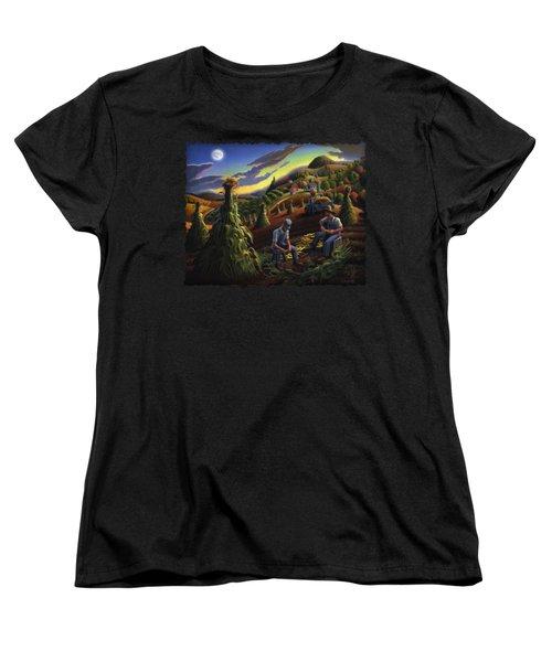 Autumn Farmers Shucking Corn Appalachian Rural Farm Country Harvesting Landscape - Harvest Folk Art Women's T-Shirt (Standard Cut) by Walt Curlee