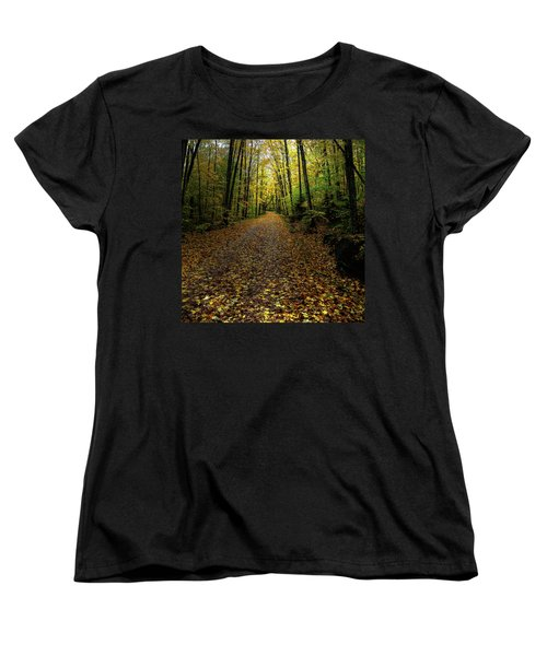 Women's T-Shirt (Standard Cut) featuring the photograph Autumn Leaves On The Trail by David Patterson