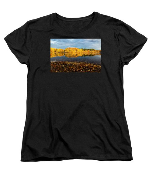Autumn Morning Reflection On Lake Pentucket Women's T-Shirt (Standard Cut) by Betty Denise