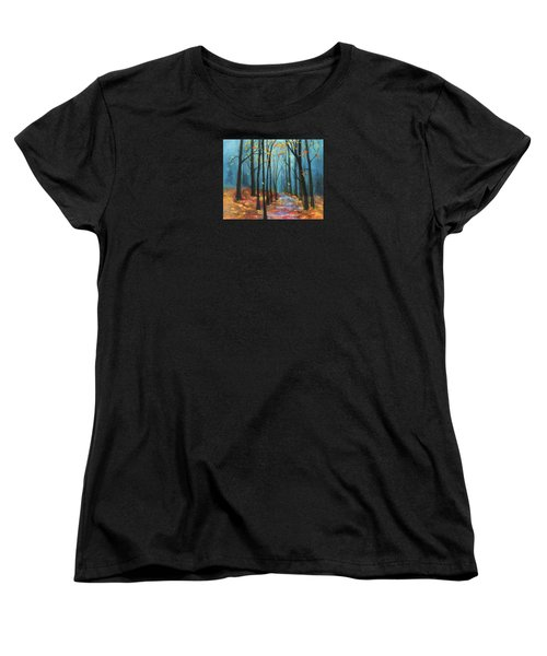 Women's T-Shirt (Standard Cut) featuring the painting Autumn Path by Terry Webb Harshman
