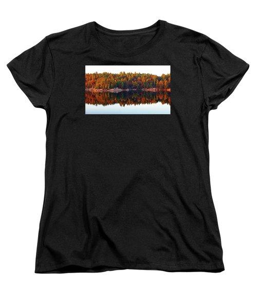 Women's T-Shirt (Standard Cut) featuring the photograph   Autumn Reflections by Debbie Oppermann