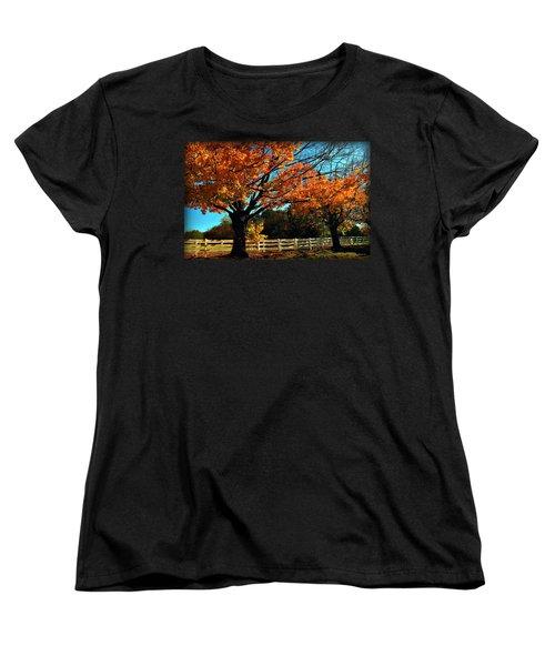 Women's T-Shirt (Standard Cut) featuring the photograph Autumn Rows by Joan  Minchak