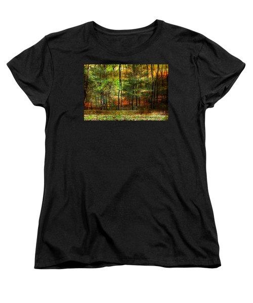 Autumn Sunset - In The Woods Women's T-Shirt (Standard Cut) by Judy Palkimas