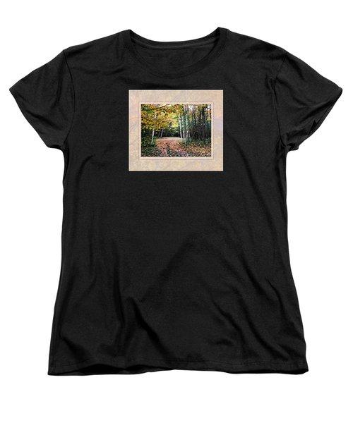 Autumn Trail Through The Birch Trees Women's T-Shirt (Standard Cut) by Joy Nichols