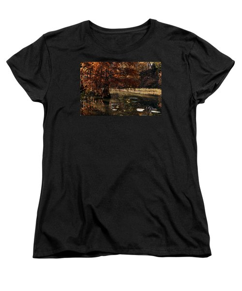 Women's T-Shirt (Standard Cut) featuring the photograph Autumnal Solace At Lake Murray by Tamyra Ayles