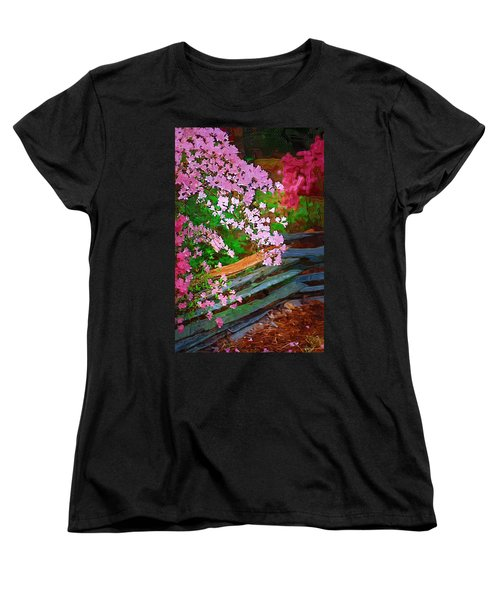 Women's T-Shirt (Standard Cut) featuring the photograph Azaleas Over The Fence by Donna Bentley
