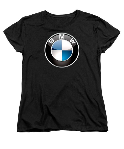 B M W  3 D Badge On Black Women's T-Shirt (Standard Cut) by Serge Averbukh