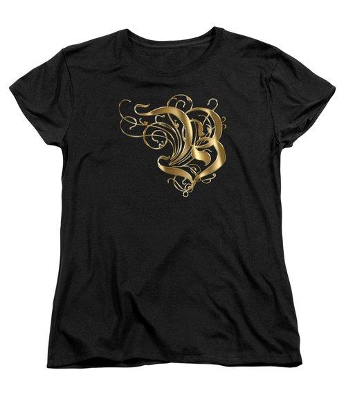 B Ornamental Letter Gold Typography Women's T-Shirt (Standard Cut) by Georgeta Blanaru