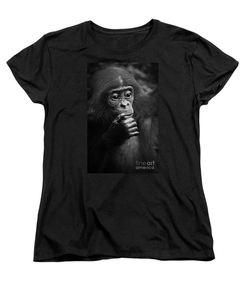 Women's T-Shirt (Standard Cut) featuring the photograph Baby Bonobo by Helga Koehrer-Wagner