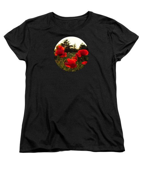 Backlit Red Poppies Women's T-Shirt (Standard Cut) by Mary Wolf