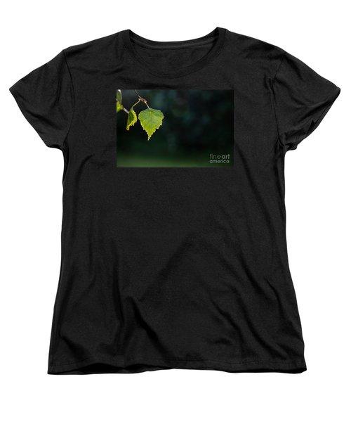 Women's T-Shirt (Standard Cut) featuring the photograph Backlit Shiny Leaf by Kennerth and Birgitta Kullman