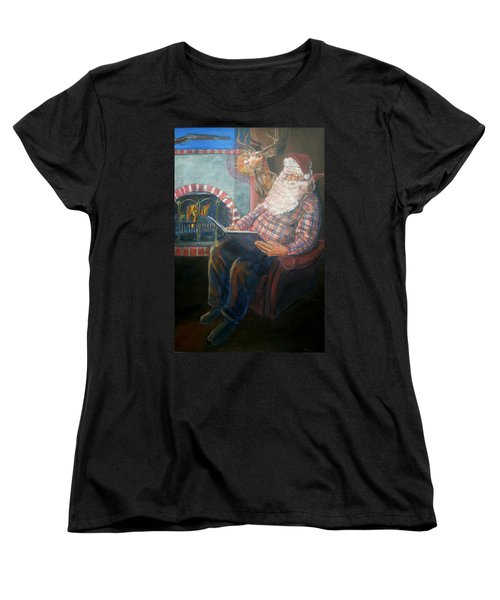 Women's T-Shirt (Standard Cut) featuring the painting Bad Rudolph by Bryan Bustard