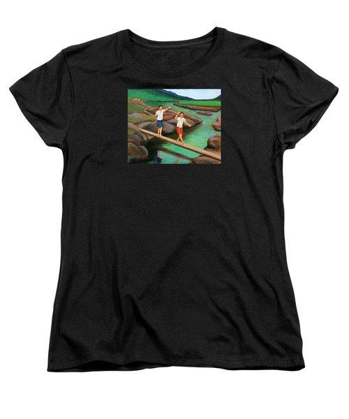 Balancing Life Through A Straight And Narrow Path Women's T-Shirt (Standard Cut) by Cyril Maza