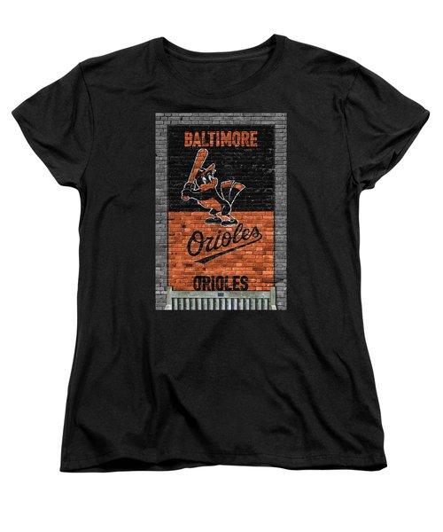 Baltimore Orioles Brick Wall Women's T-Shirt (Standard Cut) by Joe Hamilton