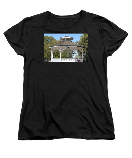 Women's T-Shirt (Standard Cut) featuring the painting Bandshell In Plymouth, Mass by Rod Jellison
