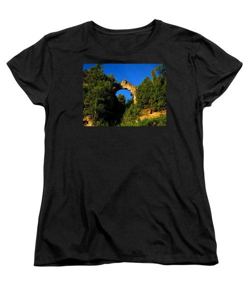 Beneath Arch Rock Women's T-Shirt (Standard Cut) by Keith Stokes