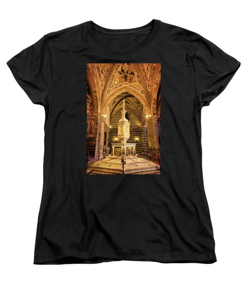 Women's T-Shirt (Standard Cut) featuring the photograph Baptistery Siena Italy by Joan Carroll