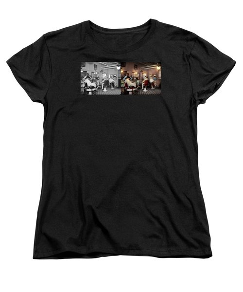 Women's T-Shirt (Standard Cut) featuring the photograph Barber - Senators-only Barbershop 1937 - Side By Side by Mike Savad
