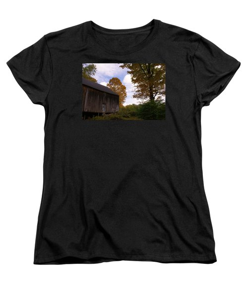 Women's T-Shirt (Standard Cut) featuring the photograph Barn In Fall by Lois Lepisto