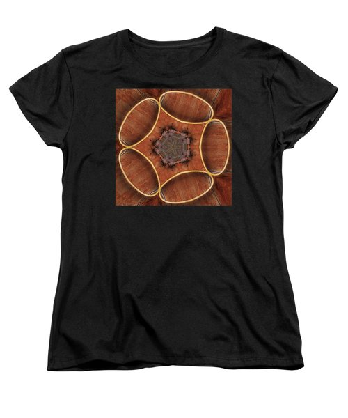 Barn Wood Kaleidoscope1 Square Women's T-Shirt (Standard Cut) by Peter J Sucy