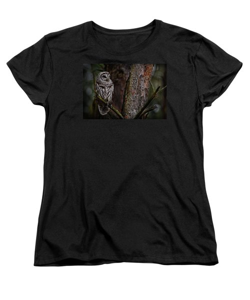 Women's T-Shirt (Standard Cut) featuring the photograph Barred Owl In Pine Tree by Michael Cummings
