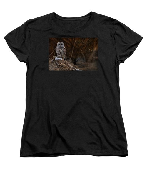 Women's T-Shirt (Standard Cut) featuring the photograph Barred Owl On Log by Michael Cummings