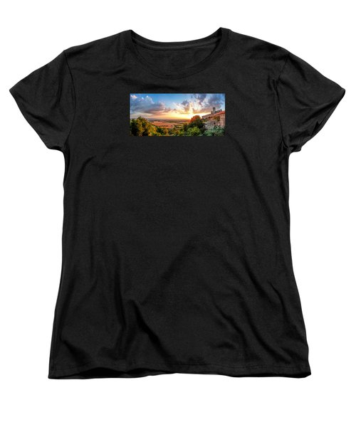Basilica Of St. Francis Of Assisi At Sunset, Umbria, Italy Women's T-Shirt (Standard Cut) by JR Photography