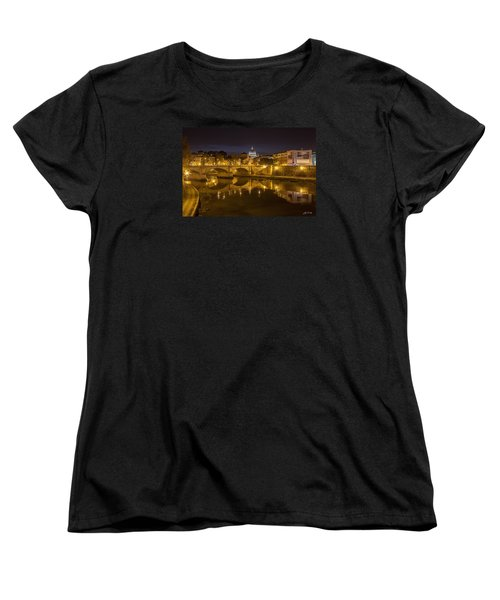 Basilica Over The River Tiber Women's T-Shirt (Standard Cut) by Ed Cilley