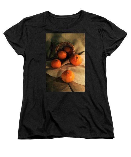 Women's T-Shirt (Standard Cut) featuring the photograph Basket Of Fresh Tangerines by Jaroslaw Blaminsky