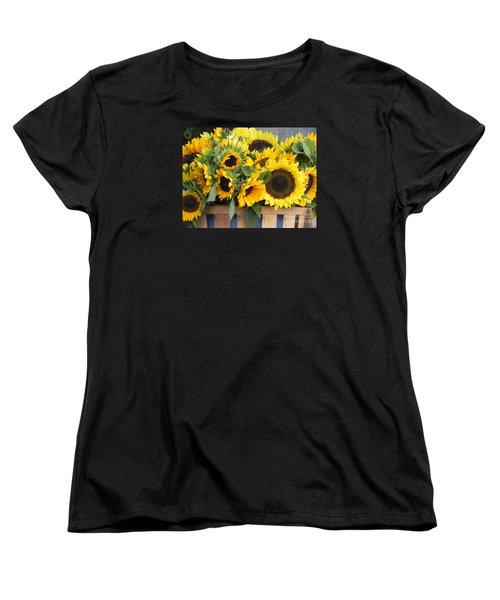Basket Of Sunflowers Women's T-Shirt (Standard Cut) by Chrisann Ellis