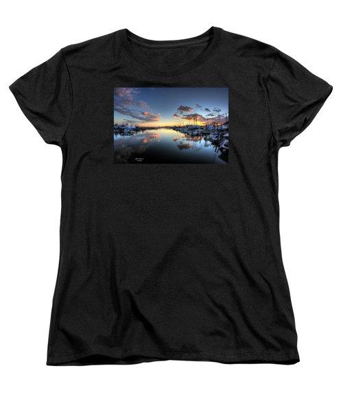 Bass Harbor Sunset Women's T-Shirt (Standard Cut) by John Loreaux