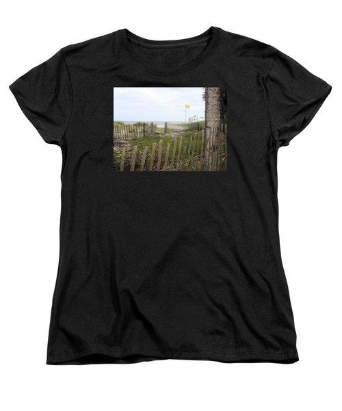 Beach Fence On Hunting Island Women's T-Shirt (Standard Cut) by Ellen Tully