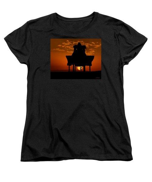 Women's T-Shirt (Standard Cut) featuring the photograph Beach Shelter At Sunset by Joe Bonita