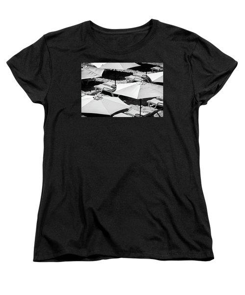 Women's T-Shirt (Standard Cut) featuring the photograph Beach Umbrellas by Marion McCristall