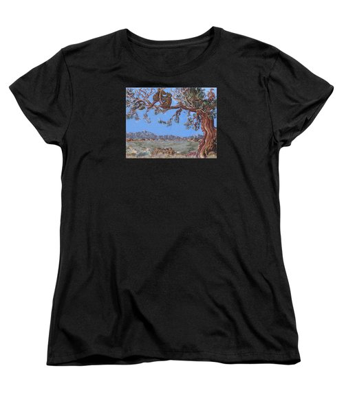Women's T-Shirt (Standard Cut) featuring the painting Bear Cubs In Cedar by Dawn Senior-Trask