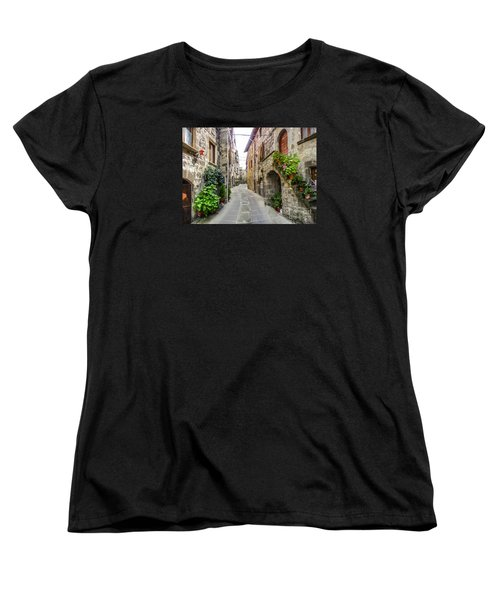 Beautiful Alleyway In The Historic Town Of Vitorchiano, Lazio, I Women's T-Shirt (Standard Cut) by JR Photography