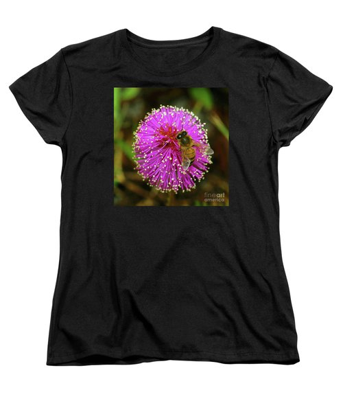 Women's T-Shirt (Standard Cut) featuring the photograph Bee On Puff Ball by Larry Nieland