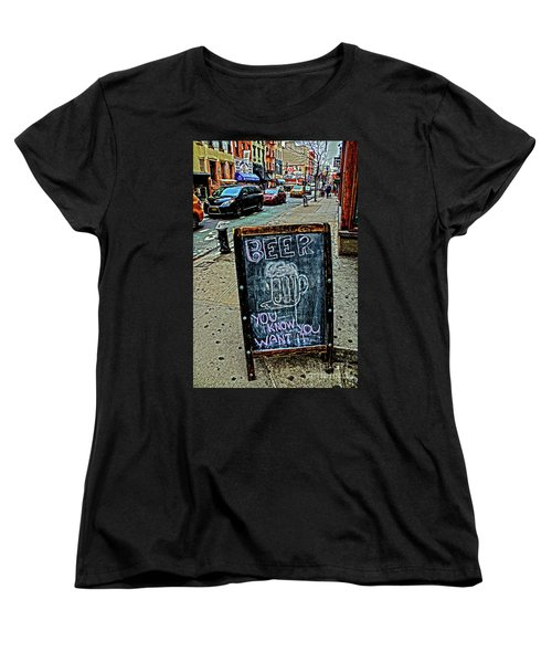 Women's T-Shirt (Standard Cut) featuring the photograph Beer Sign by Sandy Moulder