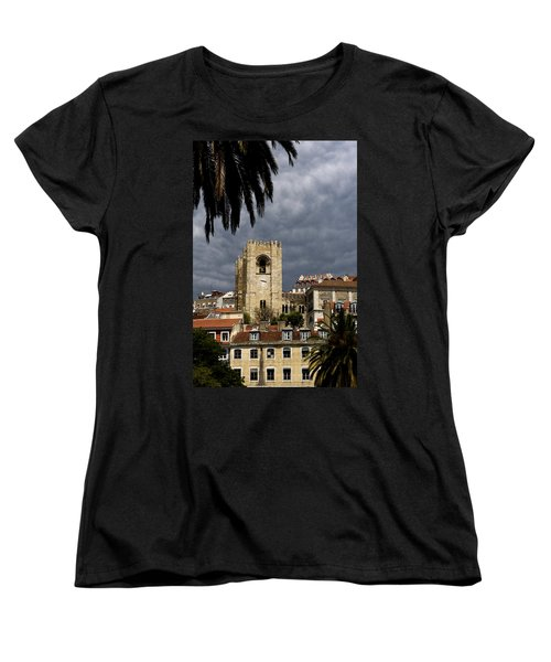 Bell Tower Against Roiling Sky Women's T-Shirt (Standard Cut) by Lorraine Devon Wilke