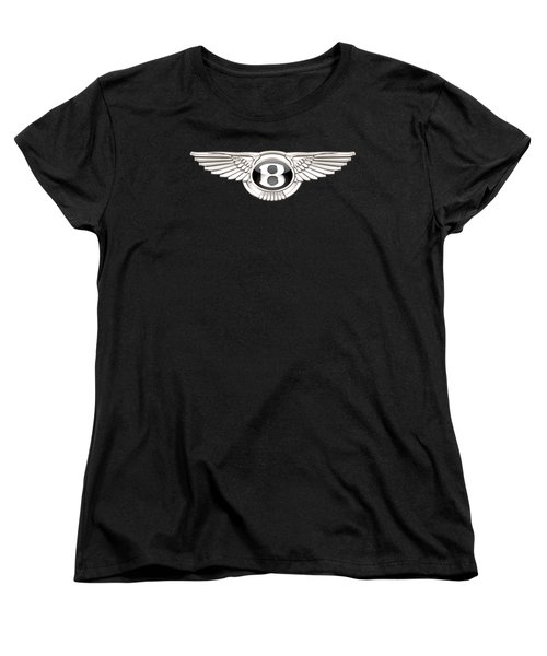 Bentley - 3 D Badge On Black Women's T-Shirt (Standard Cut) by Serge Averbukh