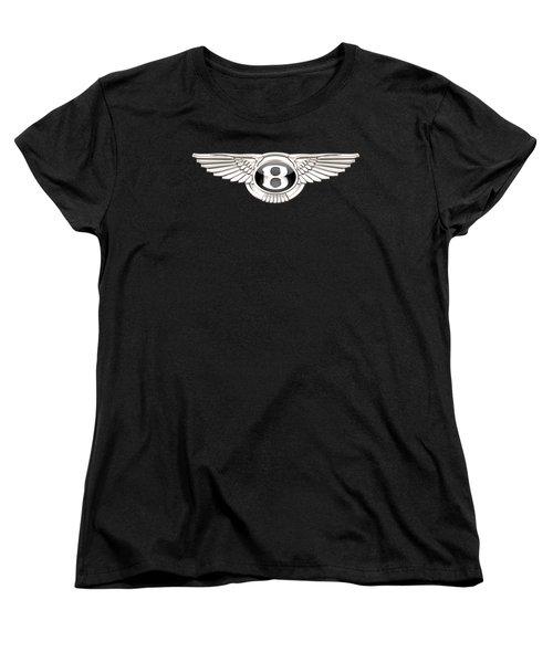 Bentley - 3 D Badge On Black Women's T-Shirt (Standard Cut)