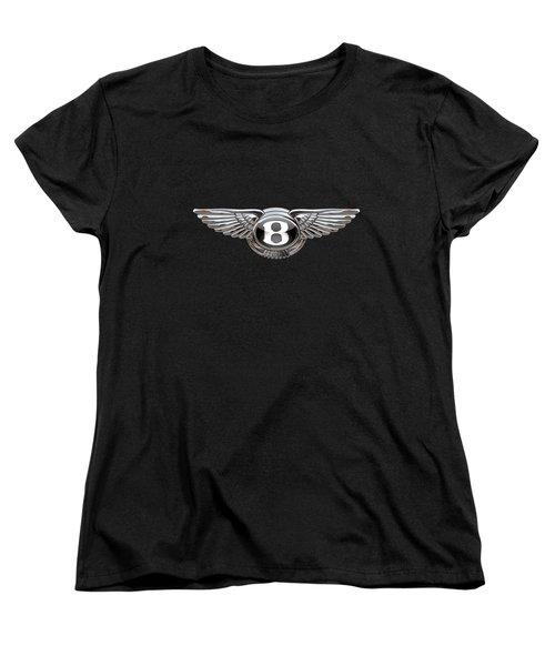 Bentley - 3d Badge On Black Women's T-Shirt (Standard Cut) by Serge Averbukh