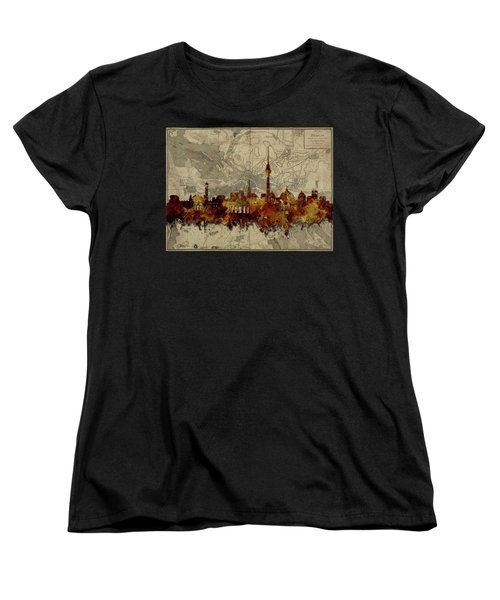 Berlin City Skyline Vintage Women's T-Shirt (Standard Cut) by Bekim Art