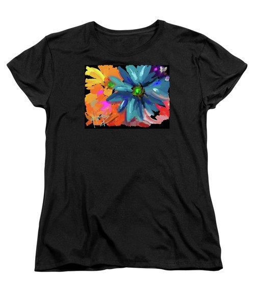 Big Blue Flower Women's T-Shirt (Standard Cut) by DC Langer
