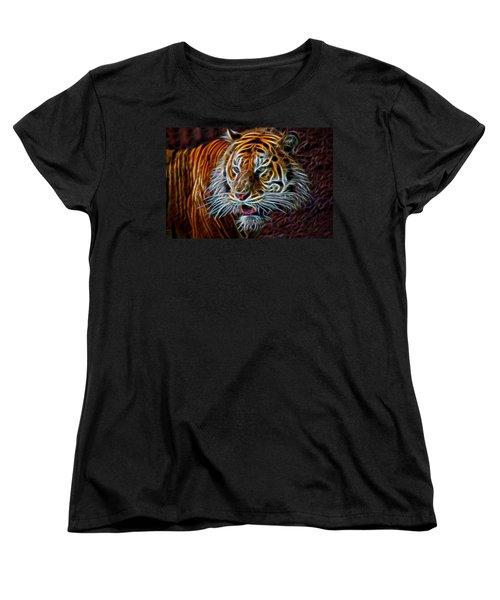 Women's T-Shirt (Standard Cut) featuring the digital art Big Cat by Aaron Berg