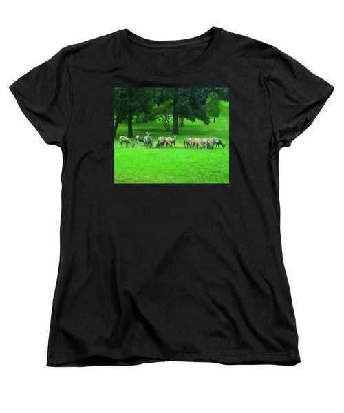 Women's T-Shirt (Standard Cut) featuring the digital art Bighorn Sheep Ewes  by Chris Flees