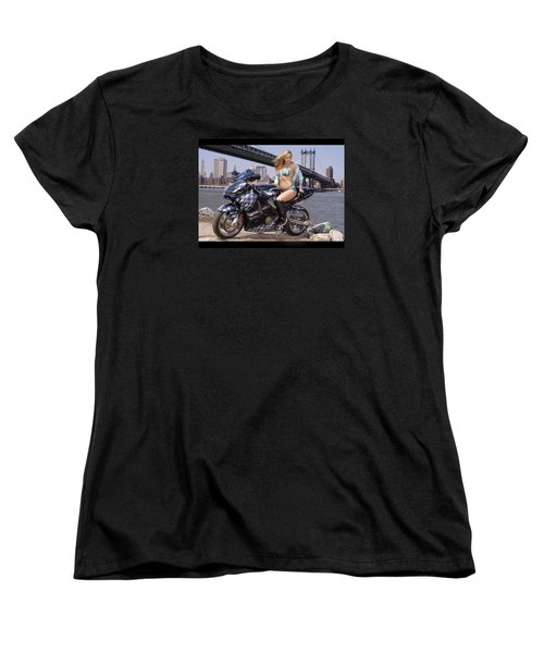 Women's T-Shirt (Standard Cut) featuring the photograph Bike, Babe, And Bridge In The Big Apple by Lawrence Christopher
