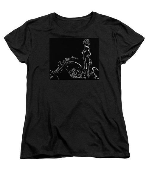 Women's T-Shirt (Standard Cut) featuring the drawing Biker Biach by Mayhem Mediums